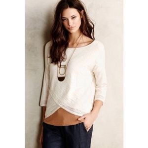 Anthropologie Moth Knit Top Cross Front 3/4